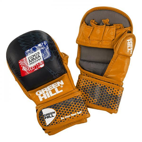 Перчатки MMA Green Hill, одобренные Союзом ММА России, черно-оранжевые Green Hill