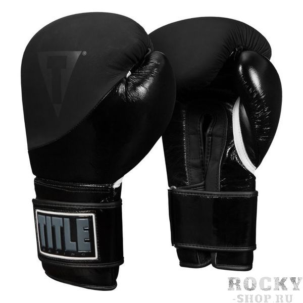 Боксерские перчатки TITLE Cyclone Leather Metallic Black, 16 OZ TITLE фото