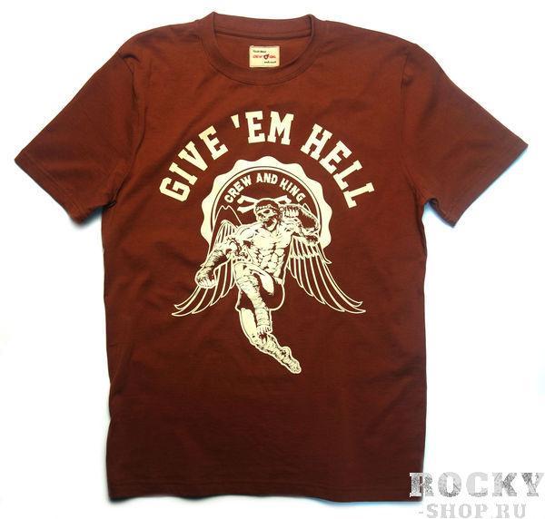 Футболка Crew&King Give'Em Hell - Врежь Им (коричневая) CrewandKing