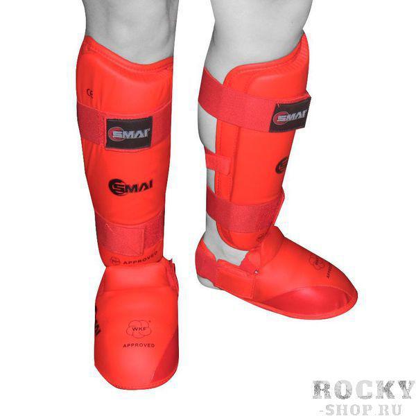 Защита голень-стопа для каратэ WKF SMAI, красная SMAI