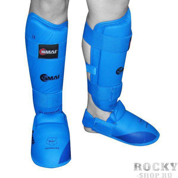 Защита голень-стопа для каратэ WKF SMAI, синяя SMAI