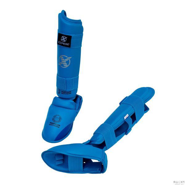 Защита голень-стопа для каратэ WKF Fight Expert, синяя Flamma