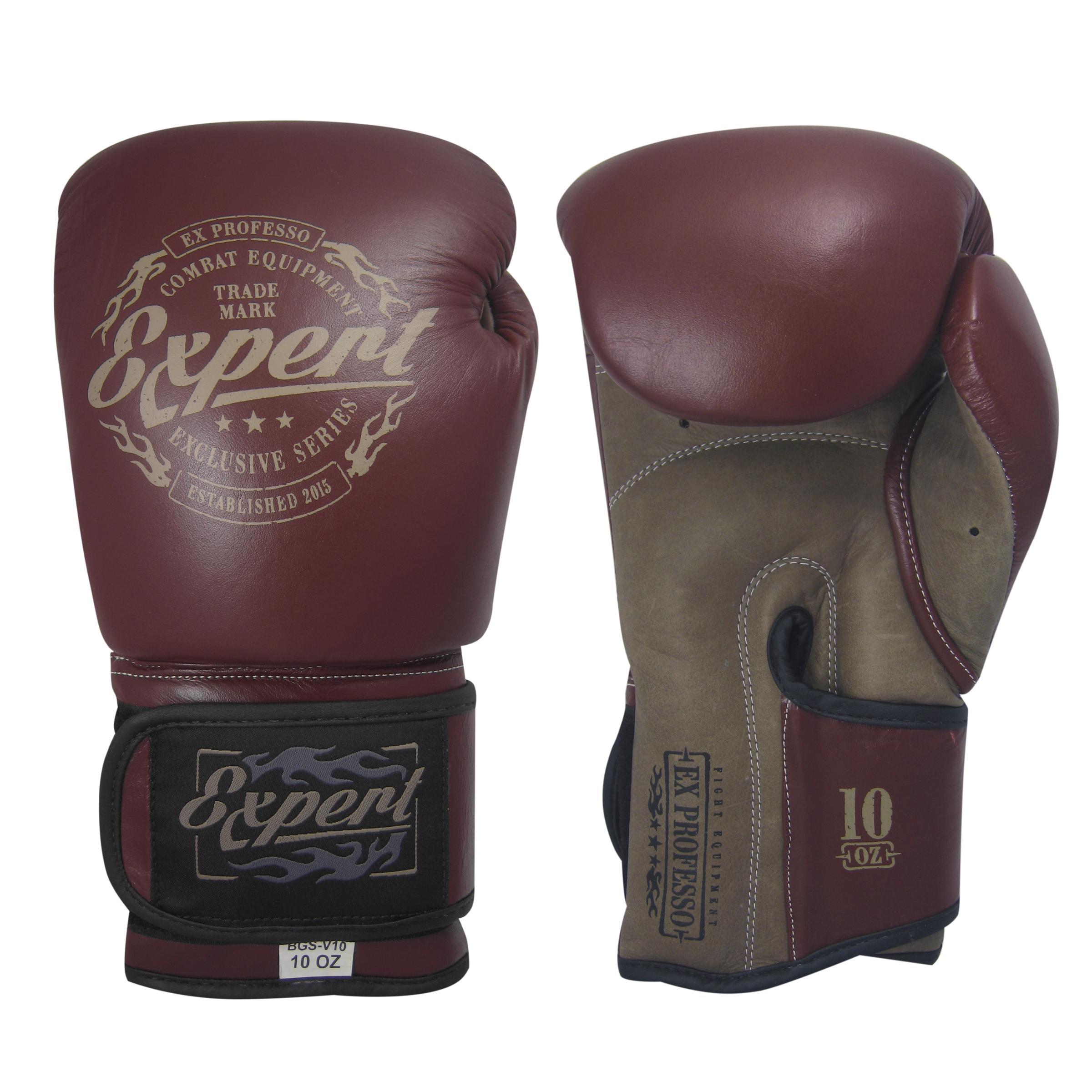 Перчатки боксерские Fight Expert Vintage на липучке, кожа, 10 OZ Flamma