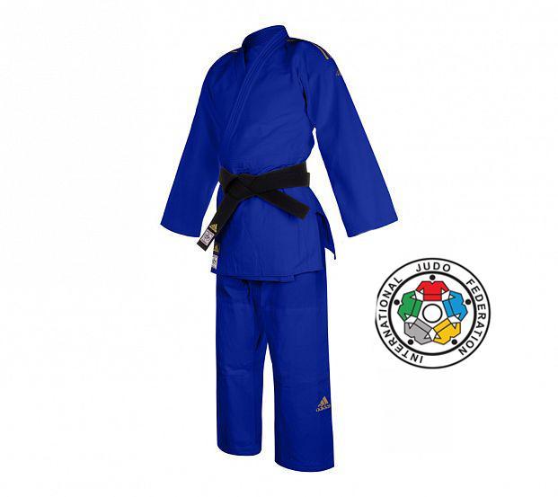 Кимоно для дзюдо Champion 2 IJF Premium синее с золотыми полосками Adidas