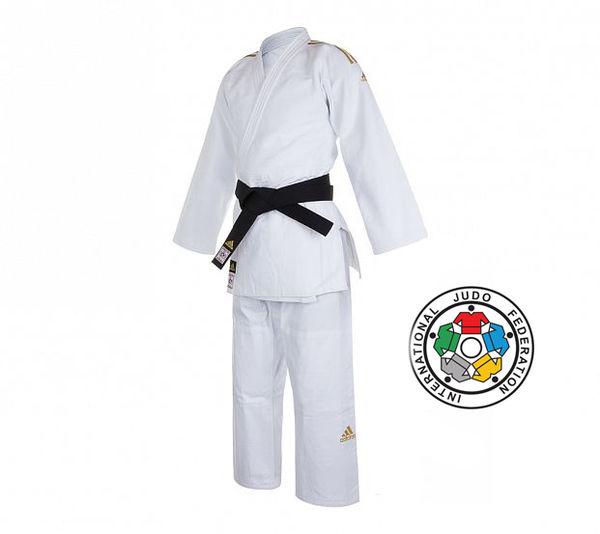 Кимоно для дзюдо Champion 2 IJF Premium белое с золотыми полосками Adidas