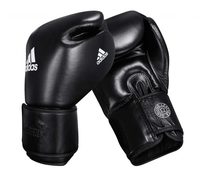 Перчатки боксерские Muay Thai Gloves 300 черно-белые, 14 унций Adidas