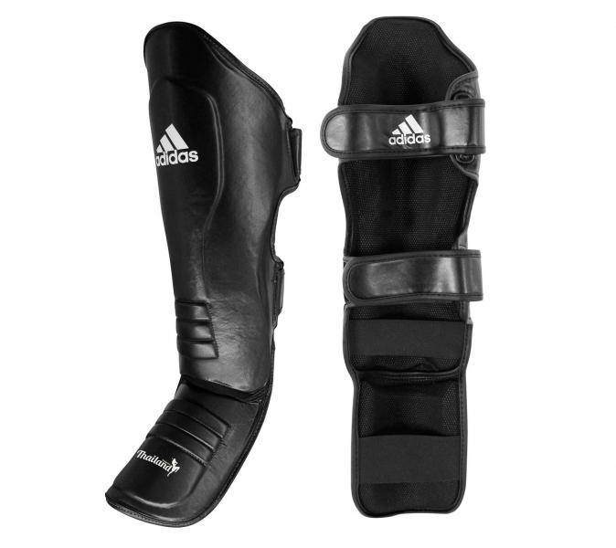 Защита голени и стопы Muay Thai Shin Instep Leather черно-белая Adidas