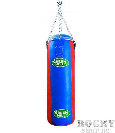 Мешок боксерский 120*35, искусственная кожа, 46 кг Green HillСнаряды для бокса<br>Искусственная кожа высшего качества<br>120 см высота, 35 см диаметр мешка<br>Цепи и кольцо для карабина входят в комплект<br>Масса 46 кг<br>Набивка резиновая крошка/ветошь<br>