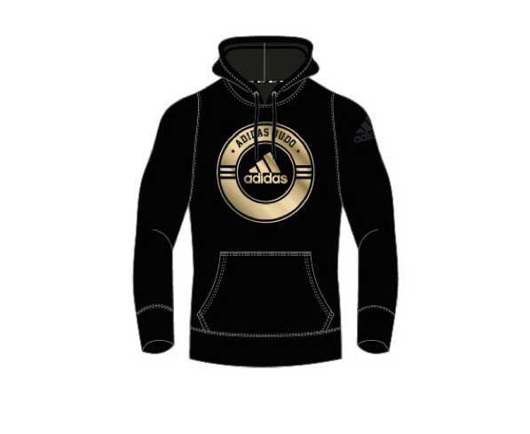 Толстовка с капюшоном (Худи) детская Combat Sport Hoody Judo Kids черно-золотая Adidas