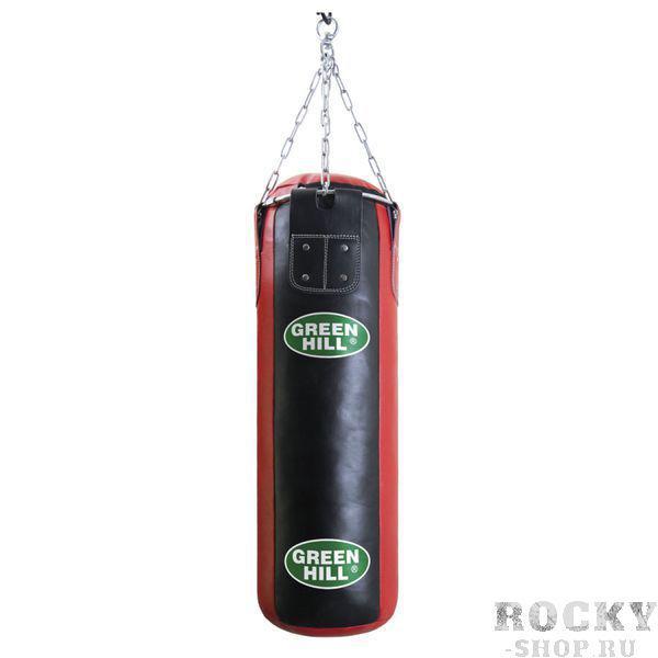 Мешок боксерский 90*30, двойная натуральная кожа, 30 кг Green HillСнаряды для бокса<br>Двойная натуральная кожа высшего качества<br>90 см высота, 30 см диаметр мешка<br>Цепи и кольцо для карабина входят в комплект<br>Масса 30 кг<br>Набивка резиновая крошка/ветошь<br>