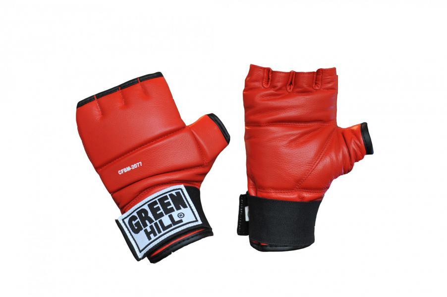 Шингарты Green Hill, Красные Green HillПерчатки MMA<br>Материал - 100% кожа наивысшего качества<br> Обрезанные пальцы обрамлены нежной искусственной подбивкой<br> Плоский защитный вкладыш разделён на три участка<br> Фиксация кисти<br> Мягкая подстежка на ладони<br><br>Размер: XL