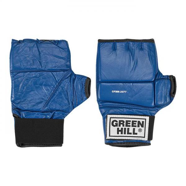 Шингарты Green Hill, Синие Green HillПерчатки MMA<br>Материал - 100% кожа наивысшего качества<br> Обрезанные пальцы обрамлены нежной искусственной подбивкой<br> Плоский защитный вкладыш разделён на три участка<br> Фиксация кисти<br> Мягкая подстежка на ладони<br><br>Размер: XL