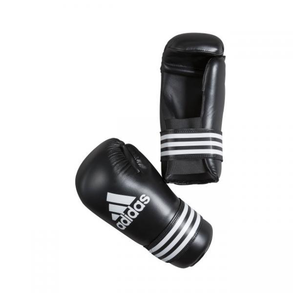 Перчатки полуконтакт Semi Contact Gloves, черные AdidasЭкипировка для Каратэ<br>Semi Contact Gloves. Перчатки полу контакт длякикбоксинга, каратэ, тхэквондо и других видов единоборств. Материал: полиуретан.<br><br>Размер: L
