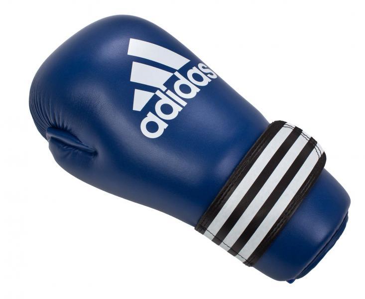 Перчатки полуконтакт Semi Contact Gloves, синие AdidasЭкипировка для Каратэ<br>Semi Contact Gloves. Перчатки полу контакт длякикбоксинга, каратэ, тхэквондо и других видов единоборств. Материал: полиуретан.<br><br>Размер: S