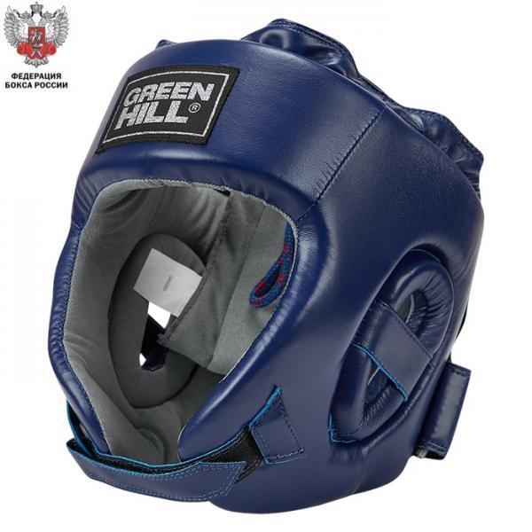 Боксерский шлем CHAMPION одобренный Федерацией Бокса России синий Green Hill