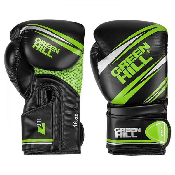 BGT-2279 Перчатки боксерские TEK7 черно-зеленый, 14oz Green Hill