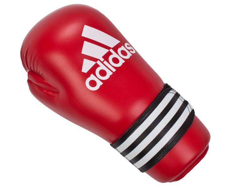 Перчатки полуконтакт Semi Contact Gloves, красные AdidasЭкипировка для Каратэ<br>Semi Contact Gloves. Перчатки полу контакт длякикбоксинга, каратэ, тхэквондо и других видов единоборств. Материал: полиуретан.<br><br>Размер: S