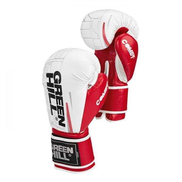 Боксерские перчатки COMET бело-красные, 16oz Green Hill