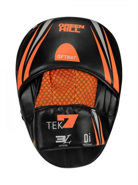 Боксерские лапы TEK7 черно-оранжевый Green Hill