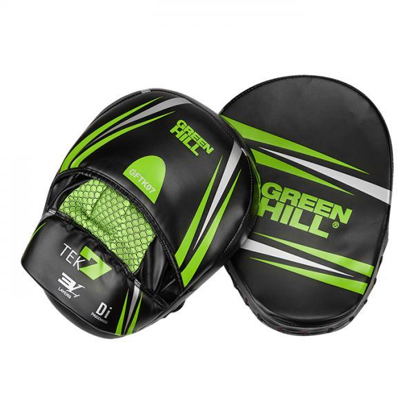 Боксерские лапы TEK7 черно-зеленый Green Hill