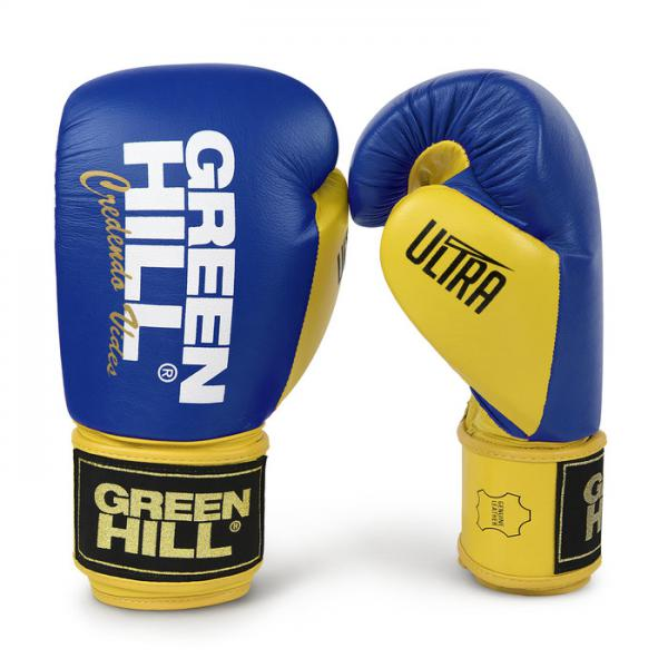 Боксерские перчатки ULTRA сине-желтые, 12oz Green Hill