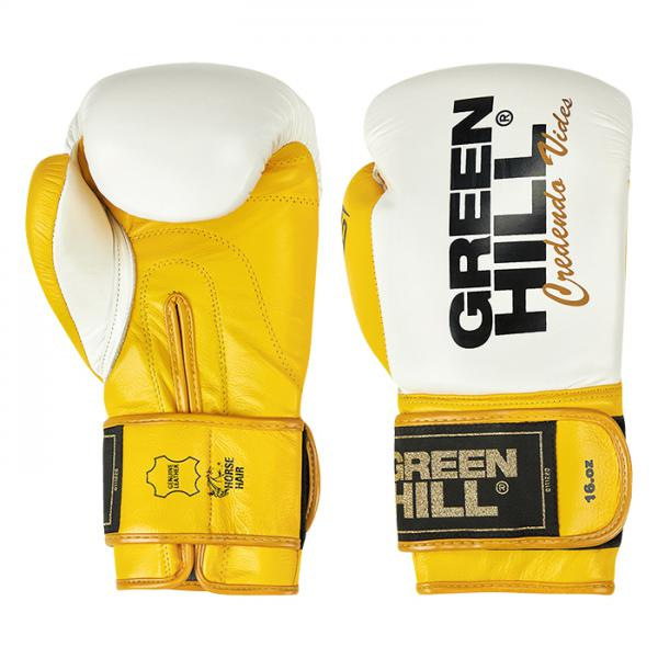 Боксерские перчатки ULTRA бело-желтые, 12oz Green Hill