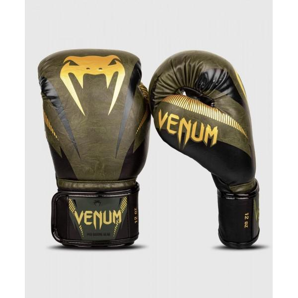 Перчатки боксерские Venum Impact Khaki/Gold, 14 унций Venum