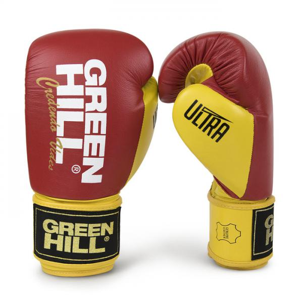 Боксерские перчатки ULTRA красно-желтые, 14oz Green Hill