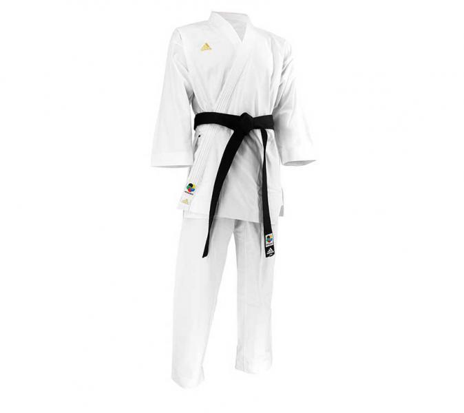 Кимоно для карате Taikyoku Hybrid Cut WKF белое с золотым логотипом Adidas