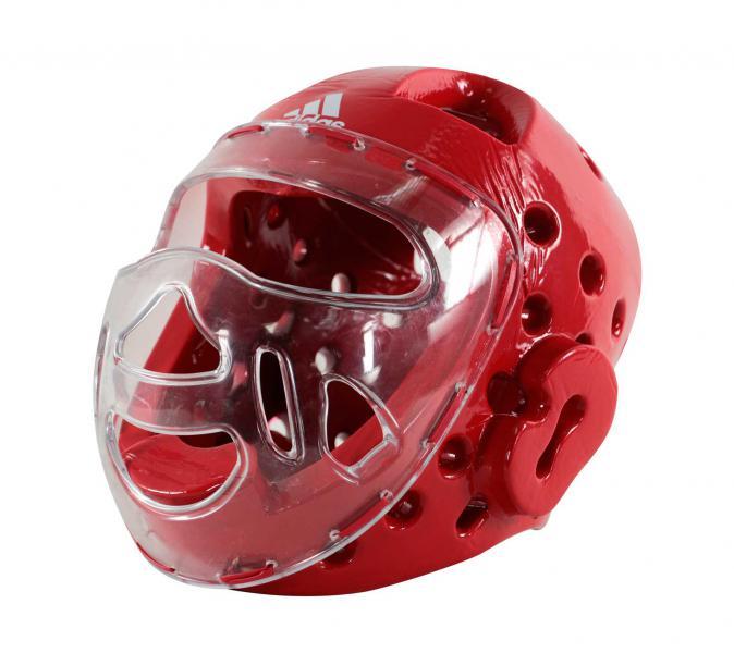 Шлем для тхэквондо с маской Head Guard Face Mask WT красный Adidas