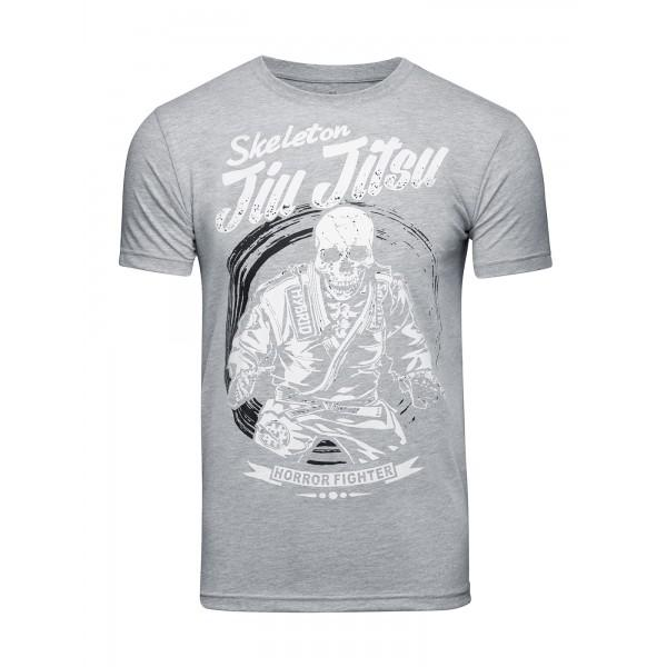Футболка Athletic pro. Skeleton Jiu Jitsu Grey/White Athletic pro.