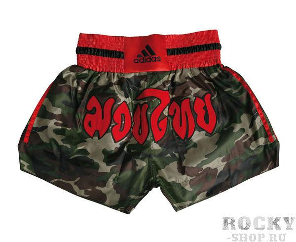 Шорты для тайского бокса Thai Boxing Short Camouflage AdidasШорты для тайского бокса/кикбоксинга<br>Шорты для тайского бокса adidas Thai Boxing Short Camouflage камуфляжные. Материал: полиэстер.<br>