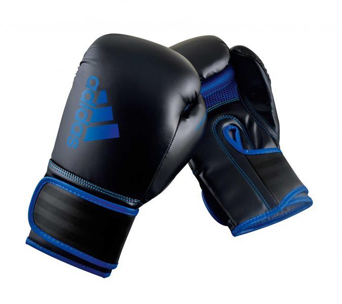 Перчатки боксерские Hybrid 80 черно-синие, 8 унций Adidas