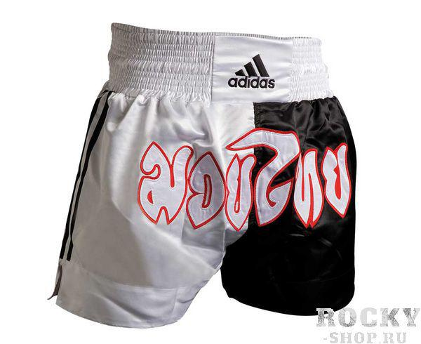Купить Шорты для тайского бокса Thai Boxing Short Half-Half черно-белые Adidas (арт. 3831)