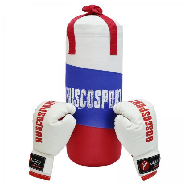 Набор Rusco Sport Триколор боксерский мешок + перчатки для начинающих, 6 OZ Rusco
