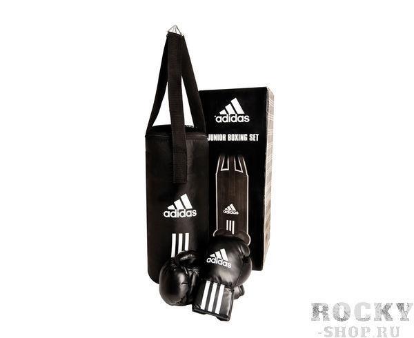 Боксерский набор детский Junior Boxing Set AdidasСнаряды для бокса<br>Боксерский комплект Adidas состоит из двух элементов: детские перчаткиAdidas и детский боксерский мешок Adidas. Детские перчаткиAdidas изготовлены из искусственной кожи и весят 6 унц. Перчатки имеют эластичную манжету - резинку для простоты одевания и снимания. Перчатки с мягким наполнителем и их можно применять в спаррингах. Боксерский мешок изготовлен из плотного тканого материала с пропиткой. Детский мешок весит около 5 кг и наполнен мягким материалом, чтобы избежать возможности получения травмы. Вес перчаток 6 унц (подходят для детей от 8 лет). Высота мешка - 48 см. Диаметр мешка - 20 см. Цвет - черный.<br>