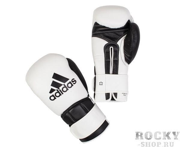 Купить Перчатки боксерские Super Pro Safety Sparring Hook & Loop бело-черные Adidas 14 унций (арт. 3902)