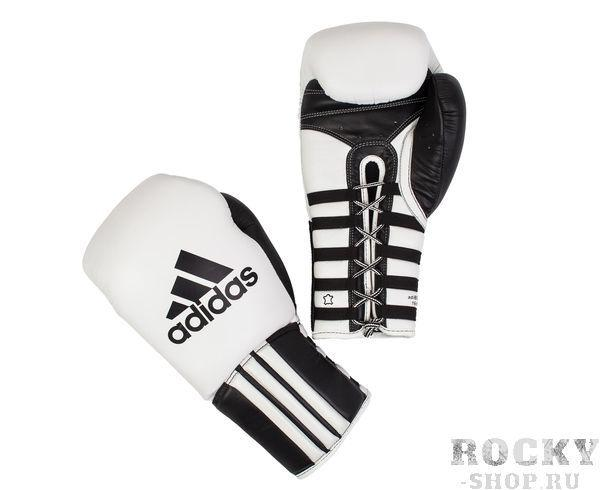 Перчатки боксерские Super Pro Safety Sparring Lace Quick Pull бело-черные, 14 унций AdidasБоксерские перчатки<br>Safety Sparring Gloves. Профессиональные боксёрские перчатки для спаррингов. Многослойный вкладыш, на шнуровке, широкий манжет. Материал: воловья кожа.<br>