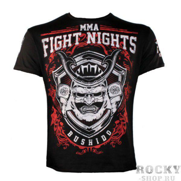 Футболка Fight Nights Bushido, черная Fight NightsФутболки<br>Футболка Fight Nights Bushido со стильным принтом в духе японских самураев. 100 % хлопок.<br><br>Размер INT: M