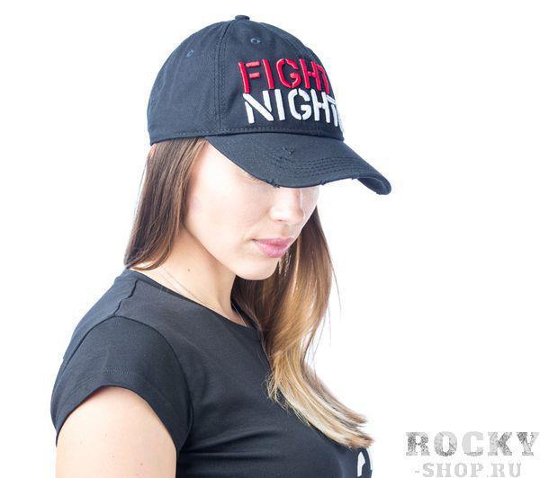 Купить Бейсболка Fight Nights прямой логотип (рваный козырек) чёрная (арт. 3943)