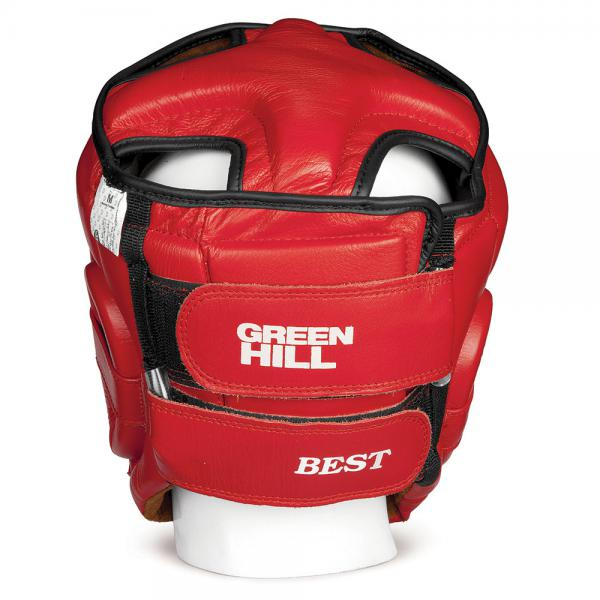 Шлем боксерский BEST соревновательный, Красный Green HillБоксерские шлемы<br>Материал: Натуральная кожаВиды спорта: БоксШлем Best. Пошит из высококачественной натуральной кожи. Предназначен для тренировок и соревнований. Двойная система крепления на липучке. С защитой теменной области. Размер: При подборе шлема следует также учесть, что размеры шлемов можно регулировать за счет специальных застежек. Для выбора шлемов, ориентируйтесь на следующие данные: охват головы - размер 48-53 см - S 54-56 см - М 57-60 см – L 61-63 см - XL<br> Защищает от травм<br> Защита верхней части головы<br> Застёжка-липучка на затылке и подбородке<br> Материал - 100% кожа<br> Гипоаллергенный материал подкладки<br><br>Цвет: L
