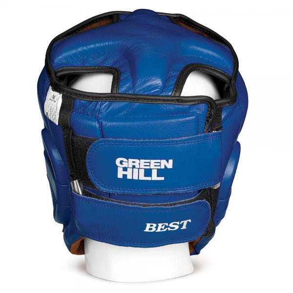 Шлем боксерский best соревновательный, Синий Green HillБоксерские шлемы<br>Материал: Натуральная кожаВиды спорта: БоксШлем Best. Пошит из высококачественной натуральной кожи. Предназначен для тренировок и соревнований. Двойная система крепления на липучке. С защитой теменной области. Размер: При подборе шлема следует также учесть, что размеры шлемов можно регулировать за счет специальных застежек. Для выбора шлемов, ориентируйтесь на следующие данные: охват головы - размер 48-53 см - S 54-56 см - М 57-60 см – L 61-63 см - XL<br> Защищает от травм<br> Защита верхней части головы<br> Застёжка-липучка на затылке и подбородке<br> Материал - 100% кожа<br> Гипоаллергенный материал подкладки<br><br>Размер: L