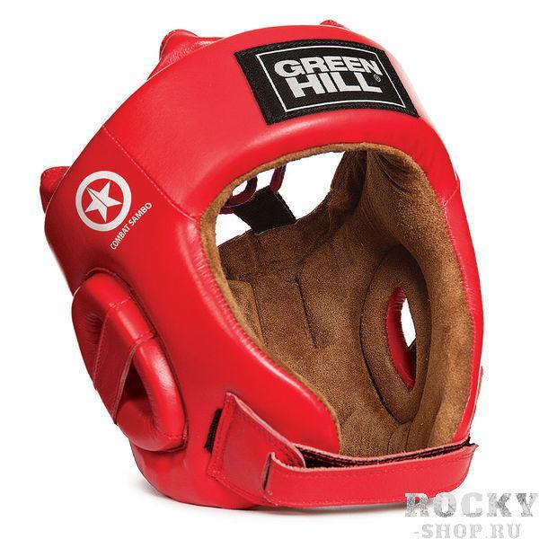 Шлем FIVE STARS Combat Sambo, Красный Green HillБоксерские шлемы<br>Материал: Натуральная кожаВиды спорта: Боевое самбоШлем Fivestar. Сделан из высококачественной натуральной кожи. Двойная система крепления (сверху и сзади), с фиксацией «липучкой» на подбородке, позволит максимально точно подогнать шлем по размеру. Отличный выбор не только для проведения соревновательных поединков, но и для тренировок. Размер: При подборе шлема следует также учесть, что размеры шлемов можно регулировать за счет специальных застежек. Для выбора шлемов, ориентируйтесь на следующие данные:охват головы - размер48-53 см - S54-56 см - М57-60 см – L61-63 см - XL<br><br><br>Шлем FIVE STARCOMBAT SAMBO предназначен для тренировок и выступлений в рамках боевого самбо. Текстура, форма и модель полностью соответствуют требованиям Всероссийской Федерации самбо. <br><br>- Производитель - Green Hill<br>- Является официальной экипировкой Сборной России по боевому самбо<br>- Изготовлен из высококачественной натуральной кожи<br>- Внутренняя замшевая подкладка обеспечивает комфорт в использовании<br>- Высокая степень прочности<br>- Долговечность<br>- Двойная система крепления и мягкие пластины на шнуровке обеспечивают правильную фиксацию и не позволяют шлему упасть во время боя<br>- Дополнительное предохранение ушей обеспечивают надежную защиту от травм<br>- При правильной фиксации имеет широкий угол обзора и не мешает в бою<br>- Надежность, эргономичность и высокое качество этой модели давно завоевали любовь и предпочтение как простых спортсменов, так и чемпионов<br><br>Цвет: S