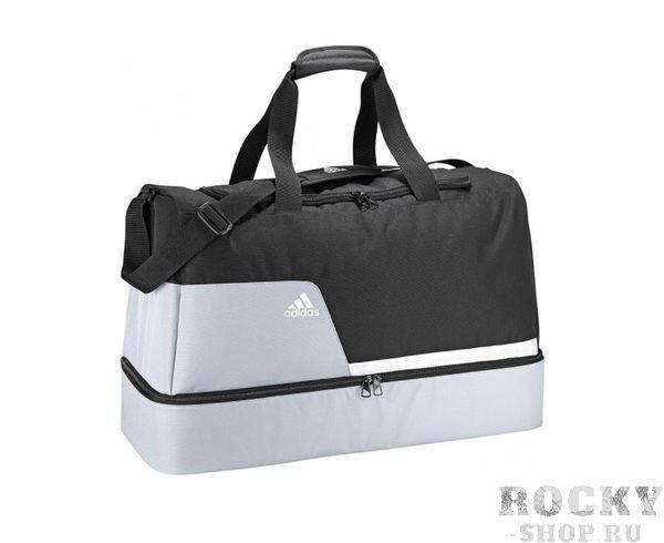 Сумка спортивная Tiro Teambag Bottom Compartment L черно-серая Adidas (арт. 4374)  - купить со скидкой