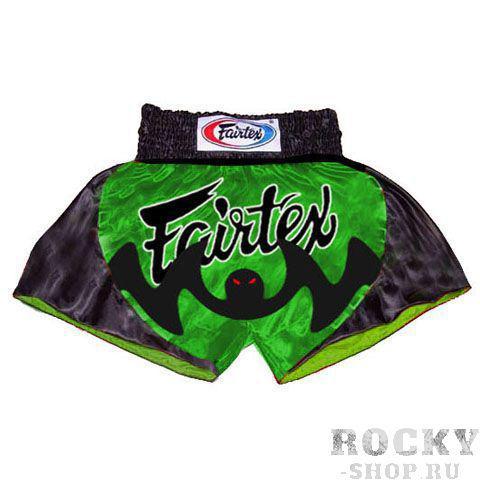 Шорты для тайского бокса Fairtex The Bat FairtexШорты для тайского бокса/кикбоксинга<br>Яркие шорты для тайского бокса изготовлены из сатина (хлопок). Шорты предназначены для занятий по тайскому боксу. Шорты более короткие, чем боксерская модель и свободна для поднятия ног и ударов коленями. Шорты имеют эластичную резинку на поясе и дополнительные внутренние шнурки для надежной фиксации. Произведены в Таиланде. Размер: S (46-48), M (50-52), L (54-56), XL (58-60).<br><br>Размер INT: L