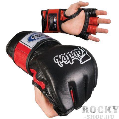 Перчатки для миксфайт Fairtex, M FairtexПерчатки MMA<br>Изготовлены перчатки с открытой ладонью и разделенными пальцами, с открытым пальцем. Перчатки для ММА обеспечивают жесткое прилегание и безопасность руке.   Изготовлены из высококачественной кожи с надписью Fairtex, с трехслойной прослойкой из пены, для защиты кулака и поглощения шока. Ручная работа. Производство: Таиланд. Размеры: M, L, XL. Цвет: синий, красный, черно-синий, черно-красный, черно-белый.<br><br>Цвет: Черный/белый