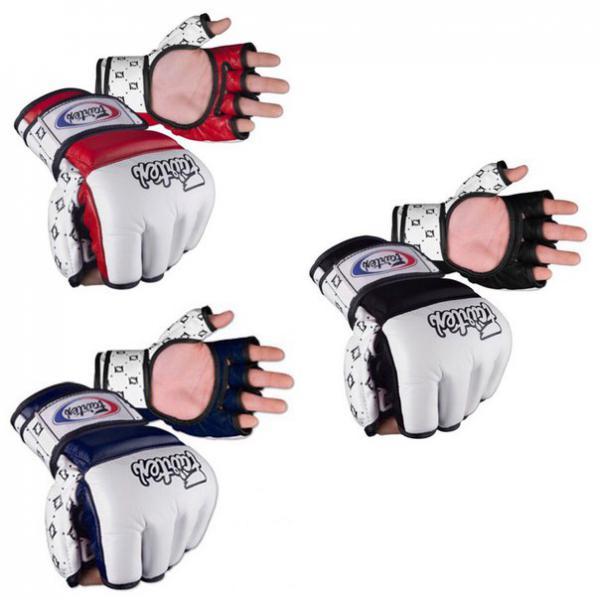 Перчатки для смешанных единоборств Fairtex, M FairtexПерчатки MMA<br>Новое поколение перчаток Fairtex для ММА, Боевого Самбо и прочих единоборств смешанного стиля. В этой модели учтены все пожелания лучших бойцов смешанного стиля. Эта модель выпускается с 2010 года и уже снискала уважение в мире смешанных единоборств. Манжеты на липучке для фиксации кисти. Материал: натуральная кожа. Ручная сборка. Страна производитель: Таиланд. Расцветка: черно-красный, черно-синий, красно-белый, бело-красный, синий-белый, бело-синий. Размер: M, L, XL.<br><br>Цвет: Черный/синий