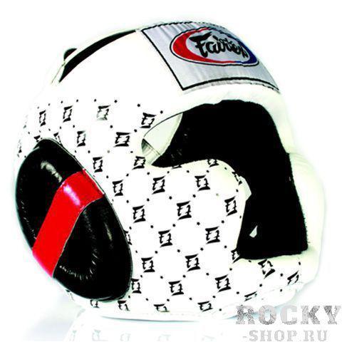 Шлем тренировочный с закрытыми скулами Fairtex, L FairtexШлемы ММА<br>Шлем Fairtex HG10 это улучшенная версия модели HG3, она улучшенная и доработанная в 2010 году. Так же как и в предыдущей модели, в этом шлеме отлично реализован баланс видимости и защиты его головы. Защищенный подбородок, дополнительная защита ушей, хорошая амортизация ударов и широкий угол обзора все эти характеристики позволят максимально продуктивно тренироваться. Этот шлем оптимален для тренировочных спаррингов и любительских соревнований. Производство: Таиланд. Материал: кожа. Цвет: черный, белый. Размер: M, L.<br><br>Цвет: Белый