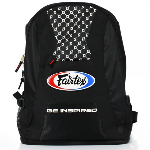 Рюкзак спортивный Fairtex FairtexСпортивные сумки и рюкзаки<br>Вместительный рюкзак отличающийся своей надежностью и прочностью. Он отлично подходит как для повседневной жизни, так и для путешествий. В него свободно помещается весь набор экипировки для Кикбоксинга, Муай Тай, Бокса, ММА, Боевого самбо и Рукопашного боя. Снизу отдельный карман для обуви или перчаток. Производство: Таиланд. Цвет: черный-красный, синий, черный. Размер: 56х40х18 см.<br><br>Цвет: Черный