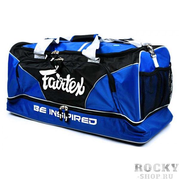 Сумка спортивная Fairtex FairtexСпортивные сумки и рюкзаки<br>Универсальная спортивная сумка от Fairtex, отличается своей вместительностью и прочностью. Эта сумка идеально подойдет вам для тренировок, поездок на тренировочные сборы или соревнования. Сумка имеет влагоотталкивающее покрытие. В неё легко влезает весь набор экипировки для Кикбоксинга, Муай Тай, Бокса, ММА, Боевого самбо или Рукопашного боя: шлем, щитки, перчатки, бинты, обувь и еще много аксессуаров. Размер: длина 72см, ширина 32см, высота 36 см. Производство: Таиланд. Цвет: синий, серый, желтый.<br><br>Цвет: Синий